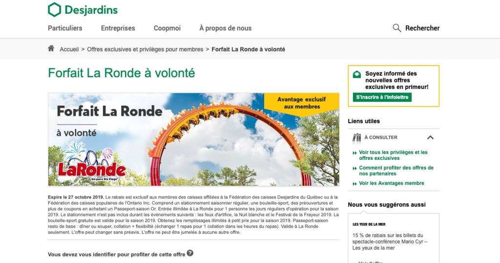 Rabais à La Ronde pour les membres Desjardins