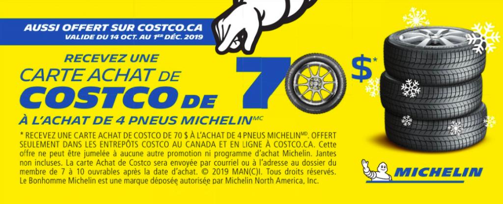 Obtenez une carte comptant Costco de 70$, à l'achat de 4 pneus d'hiver Michelin.