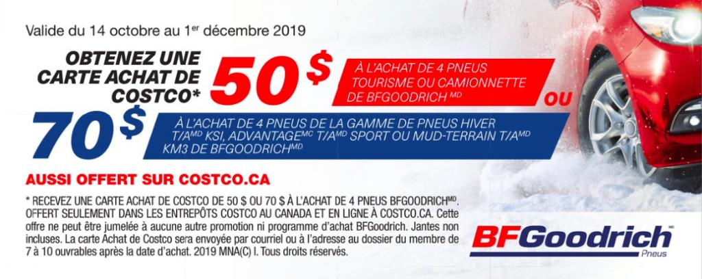 Obtenez une carte comptant Costco de 50$ ou 70$ à l'achat de 4 pneus d'hiver de marque BFgoodrich.