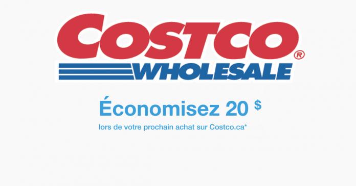 Rabais de 20$ sur votre achat sur le site web de Costco.ca