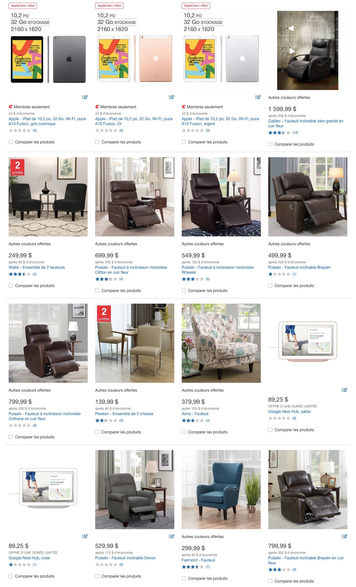 Rabais en ligne sur le site web de Costco dans le cadre de la vente du Boxing Day.