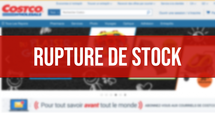 Rupture de stock sur le site web de Costco