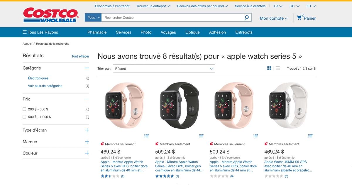 Rabais sur les montres Apple Watch Series 5 chez Costco.